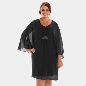 NEWConnected Apparel 20w Black Kimono Sleeve Dress